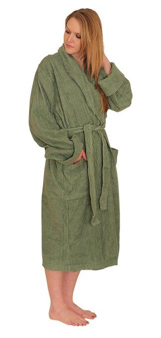 NDK New York Women s Chenille Robe Mid Calf Length 100% Cotton Shawl Collar  at Amazon Women s Clothing store f9a40707e