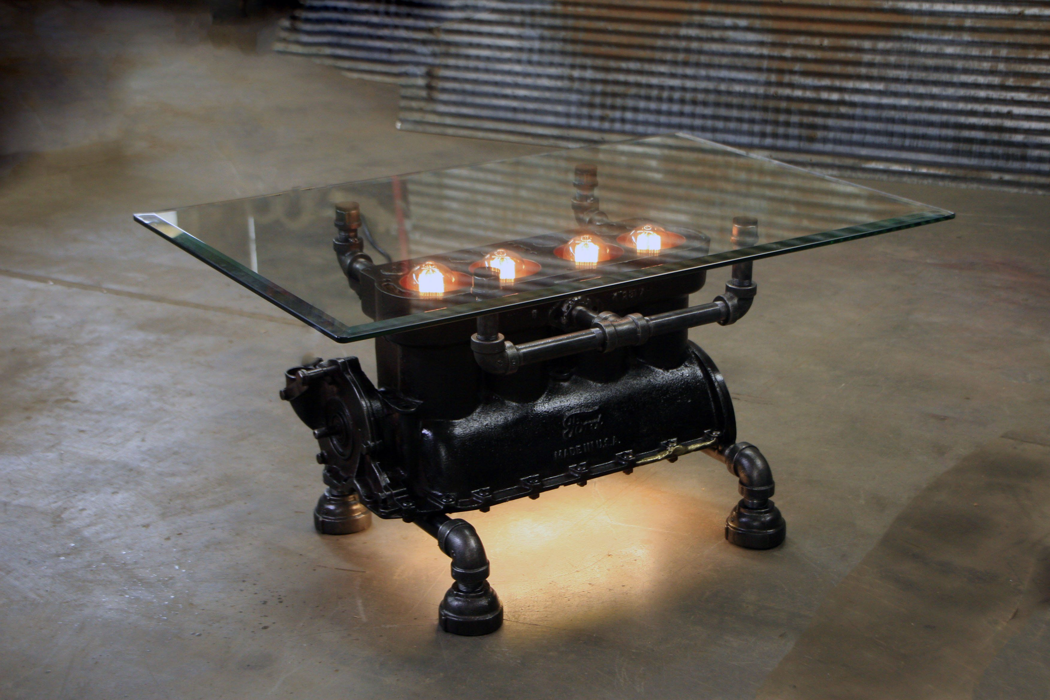 Steampunk Industrial Antique Model T Engine Block Coffee Table Glass T Steampunk Furniture Diy Vintage Industrial Furniture Industrial Design Furniture