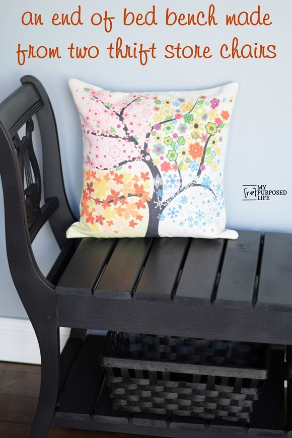 How to make an end of the bed bench out of two thrift store chairs ...