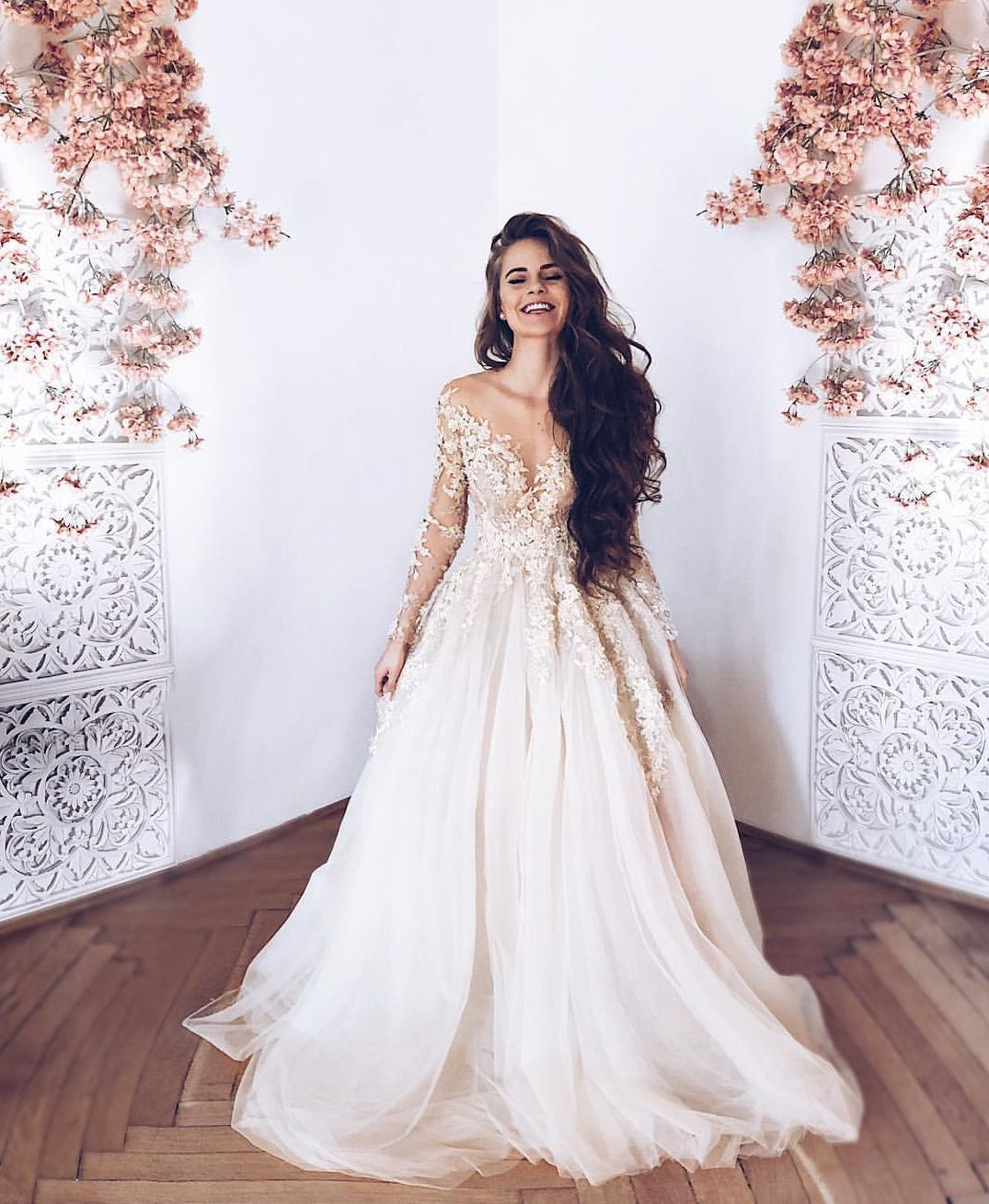 Light Champagne Lace Tulle Long Prom Dress Long Sleeve Evening Dress From Dress Idea In 2021 Prom Dresses Long With Sleeves Wedding Dress Long Sleeve Lace Weddings [ 1309 x 1075 Pixel ]
