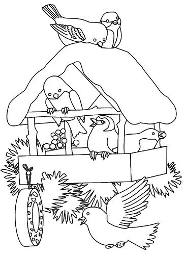 Winter birdhouse Christmas coloring pages Coloring