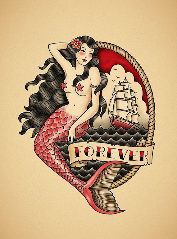 mermaid old school tattoo print tattoo goals pinterest mermaid tattoo and school. Black Bedroom Furniture Sets. Home Design Ideas