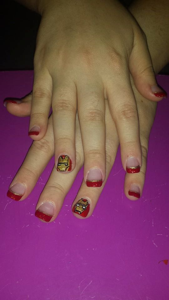 Iron Man hand painted nail decals.