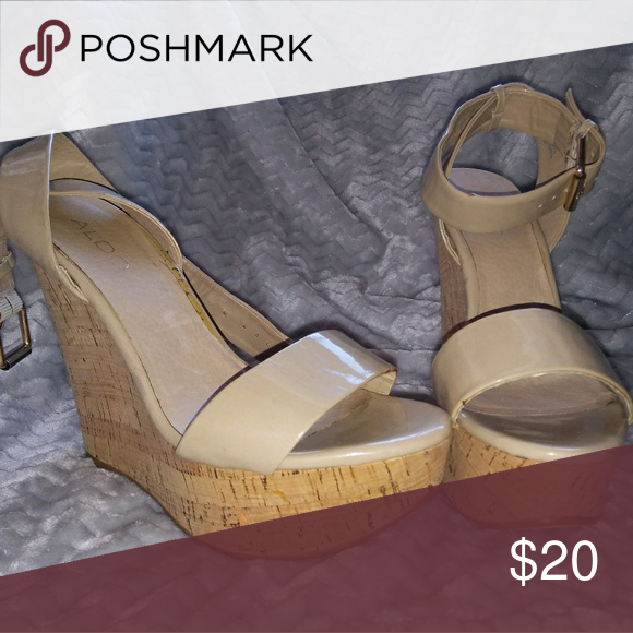 Cork Wedges Shiny tan wedges with cork heel and cute ankle strap. Aldo Shoes Wedges