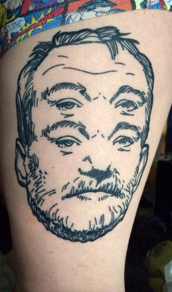 My dear Bill Murray tattoo. Placement is on thigh. Done by Wojciech Jelen in Bleksmiðjan, Reykjavík Iceland.