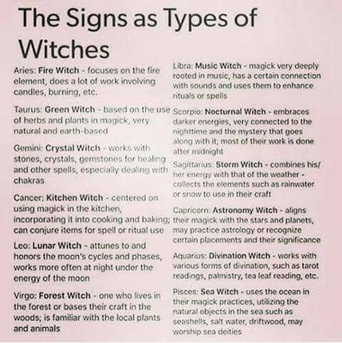 Signs as Types of Witches | Witchy Things | Magick, Witch, Book of