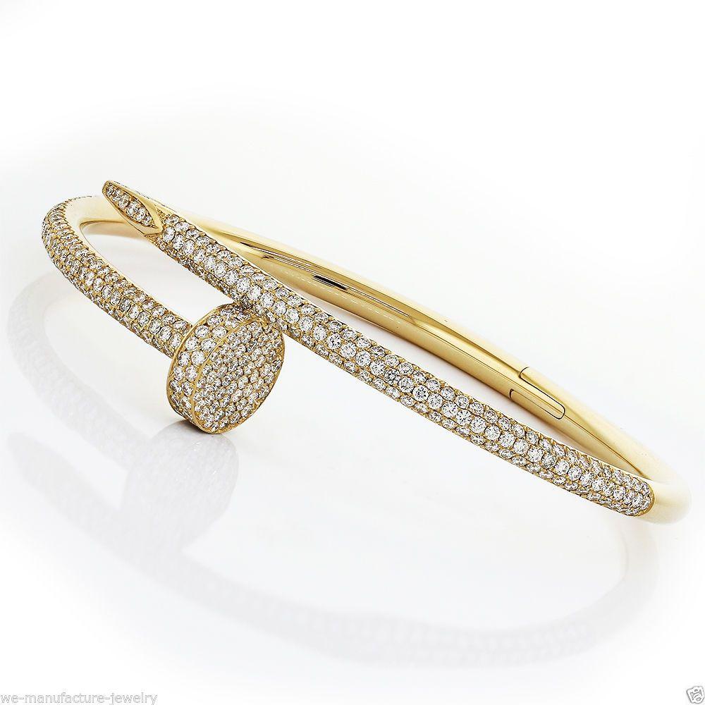 Cartier Juste Un Clou Nail Bracelet 18k Yellow Gold Diamond Pave Bangle