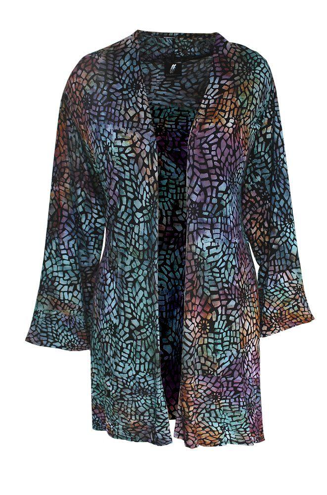 52f782f05b2 Kimono Cardigan for Plus Size, Women's Lagenlook Long Jacket, One Plus Size  Handmade Batik Clothes for the Full Figure Woman