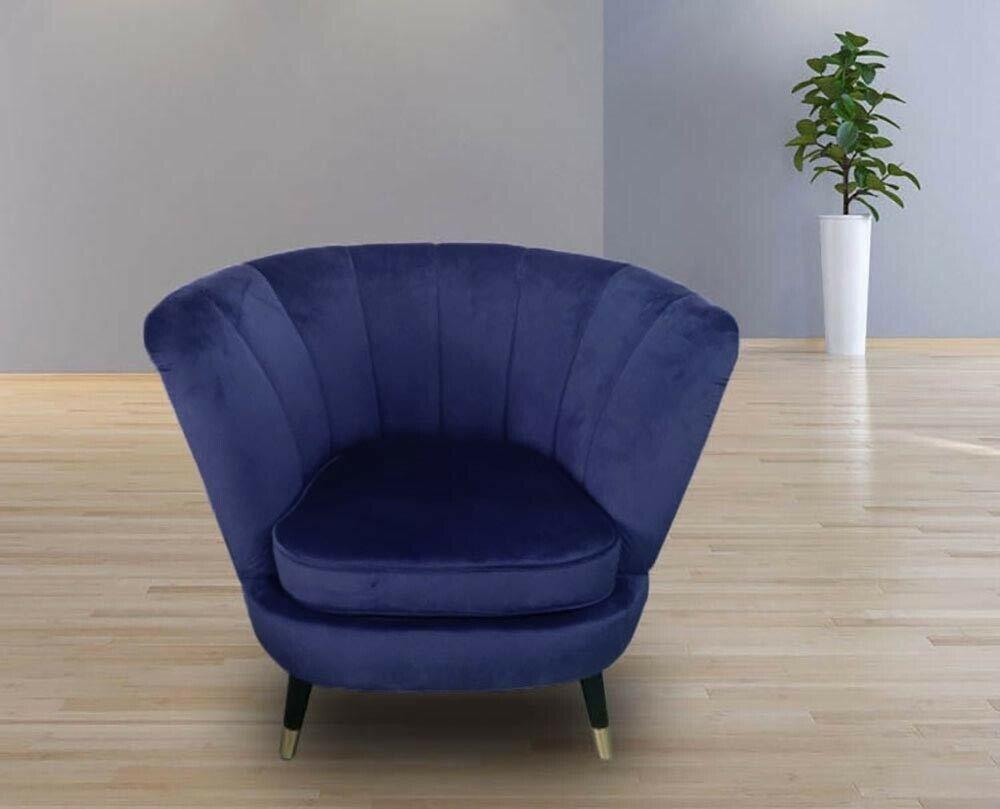 Blue Velvet Scallop Shell Back Tub Chair Armchair Upholstered