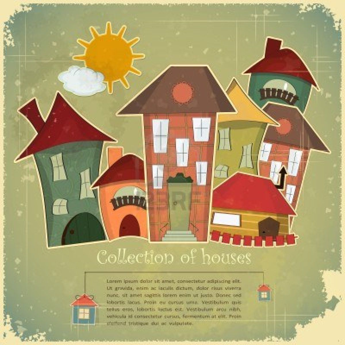 Collection of houses on vintage background - Retro card - vector illustration Stock Photo
