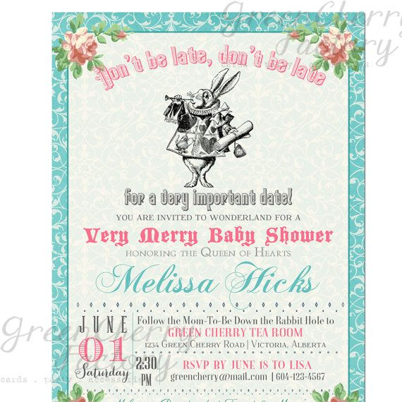 Baby Shower Invitation Mad Hatter Tea Party Shower Any