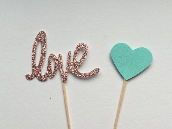30 Heart and Love Cupcake Picks, Bridal Shower Cupcake Topper, Wedding Cupcake Toppers, Cupcake Toppers