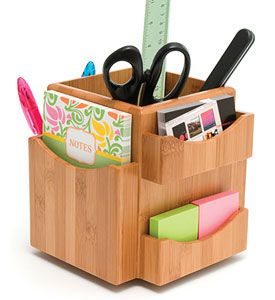 Bamboo Spinning Desk Organizer 15 99 Organizing Office Supplies Accessories On Desktop Or