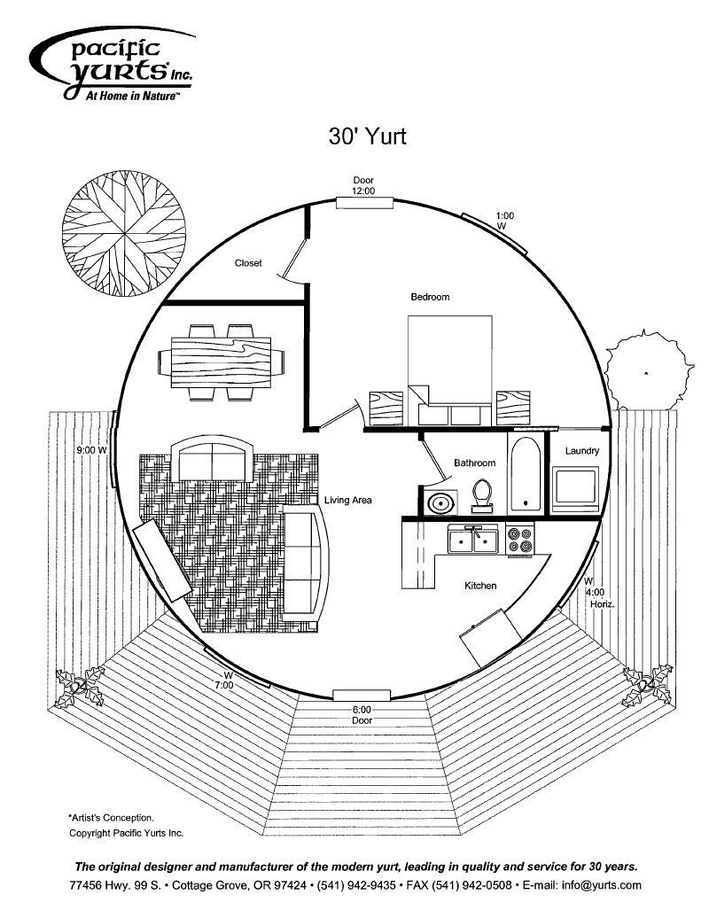 Yurt floor plan add loft over bedroom and bathroom for Yurt home plans