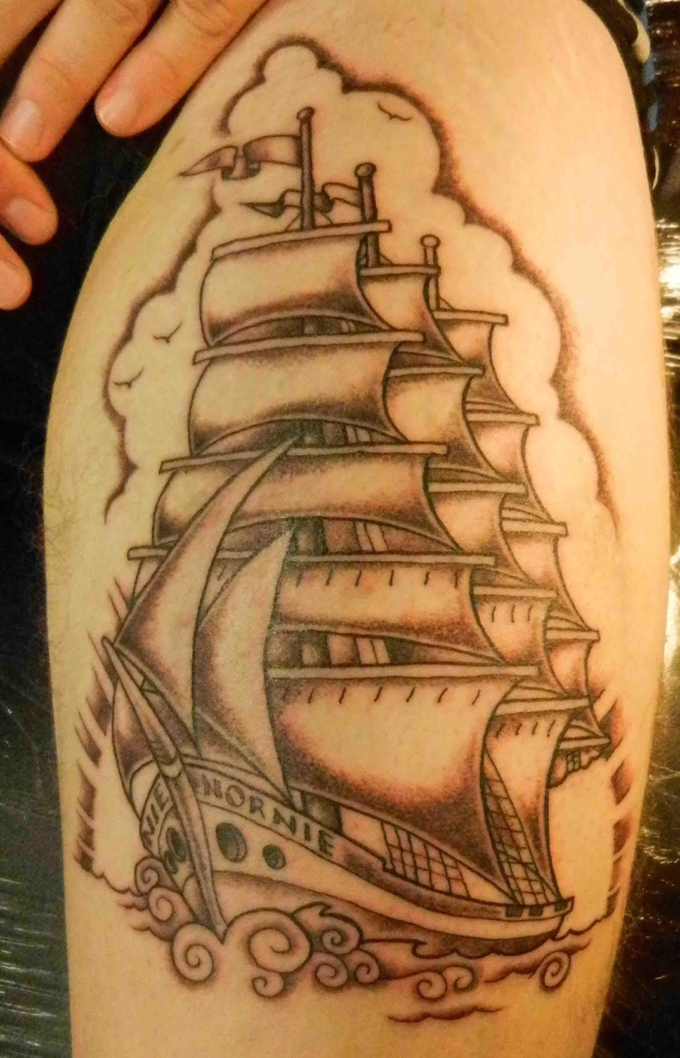 Sailing Ship Rigged Sailing Ship Black And Grey Design Neo