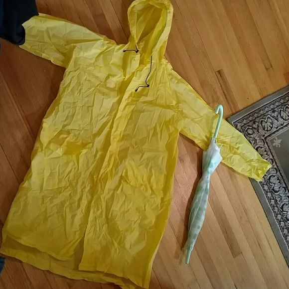 Nwt Raincoat  sz sm/med Brand new  Didriksons grundsund yellow raincoat w a hood. Made in sweden. Great to pack or store in car for unexpected rain. Umbrella not included. Snap front tie at hood. Would fit sz lg too Jackets & Coats