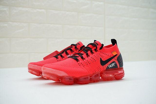 Nike Air VaporMax Flyknit 2 0 2018 Off White Men Running Shoe Blood Red  Black 942842-006 622cc69ff