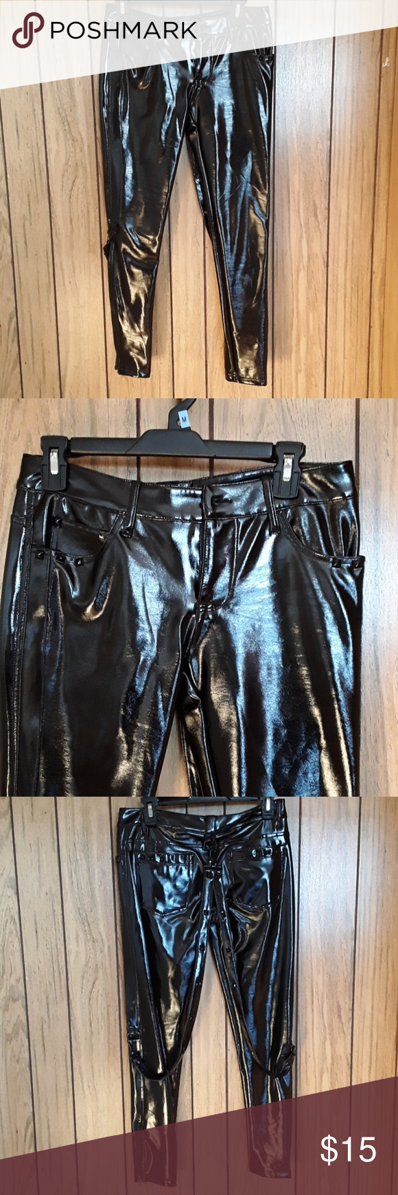 4e786ea43f2 Lip Service Black Vinyl Pants Only wore once a few years ago. Shiny Black  Pants with Suspenders and Black Pyramid Studs aligning pockets Lip Service  Pants ...