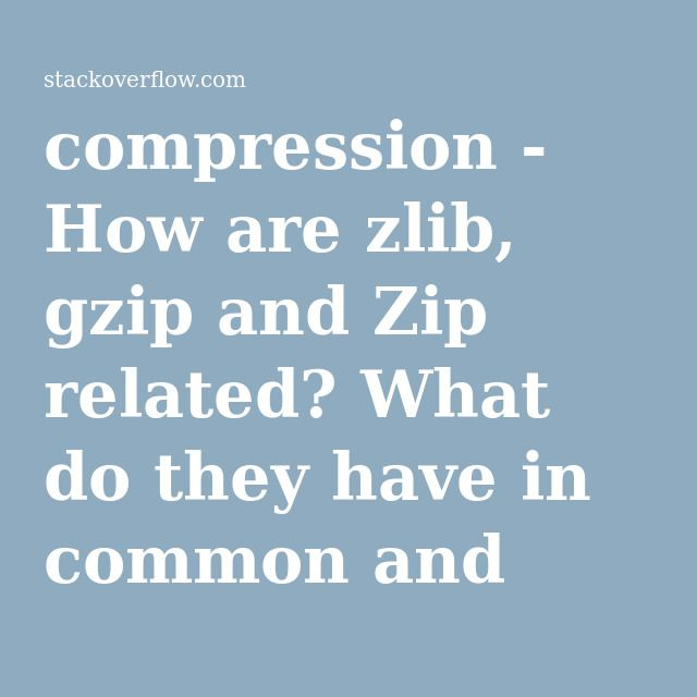 compression - How are zlib, gzip and Zip related? What do