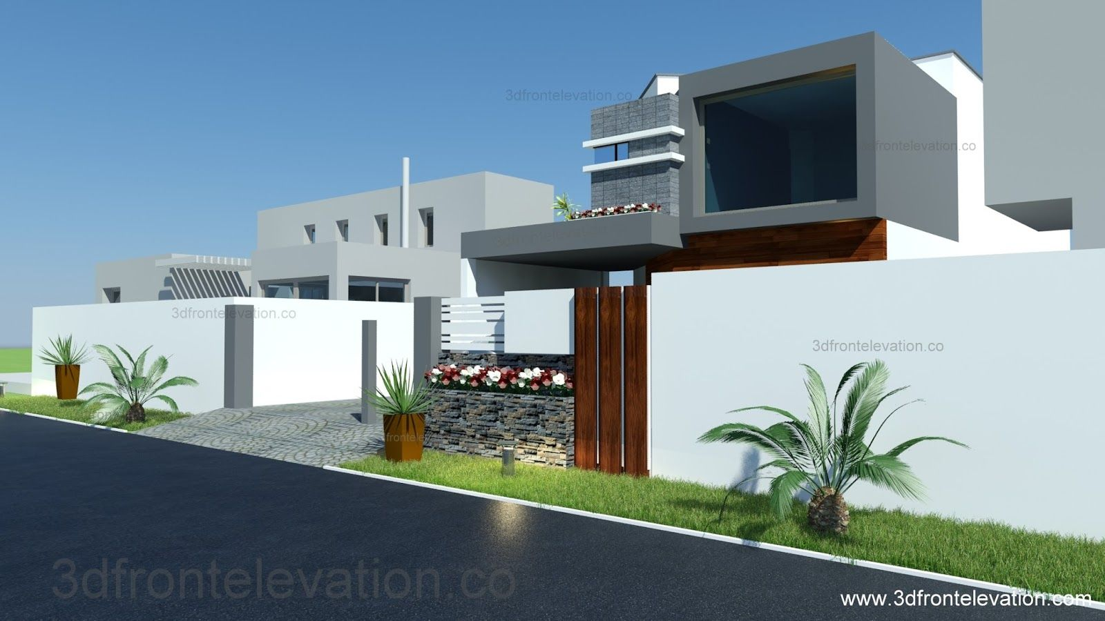 3D Front Elevation 8 Marla House Plan Layout