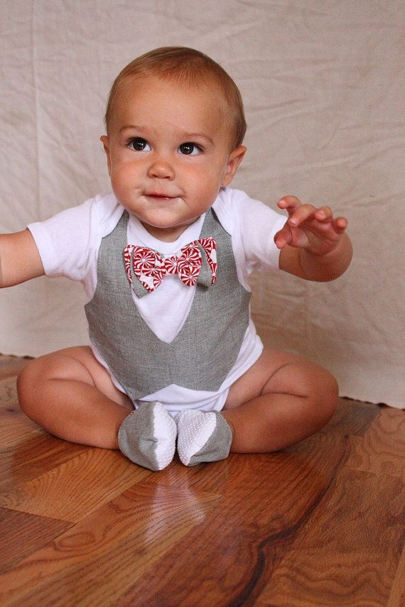 Baby boy Christmas shirt and shoes Christmas Bow tie by haddygrace