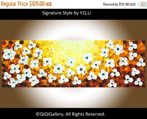 Abstract White flowers art acrylic Painting Heavy Texture Impasto ...