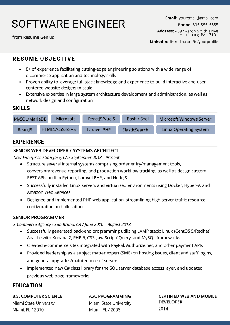Software Engineer Resume Example Writing Tips Resume Genius Engineering Resume Computer Skills Resume Resume Software