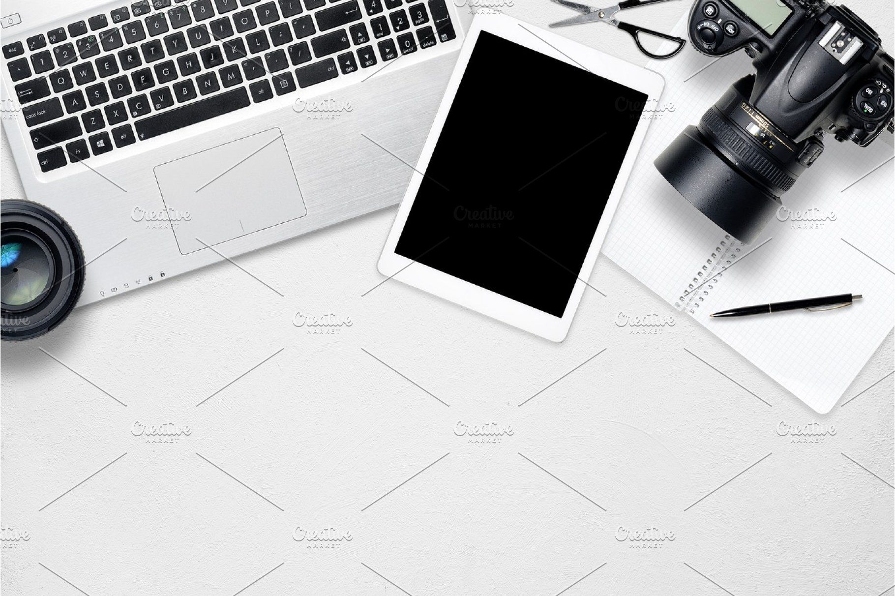 White Office Photography Desk Table With Laptop Tablet Camera And Glass Top View With Copy Space White Office Desk Top View Table Desk