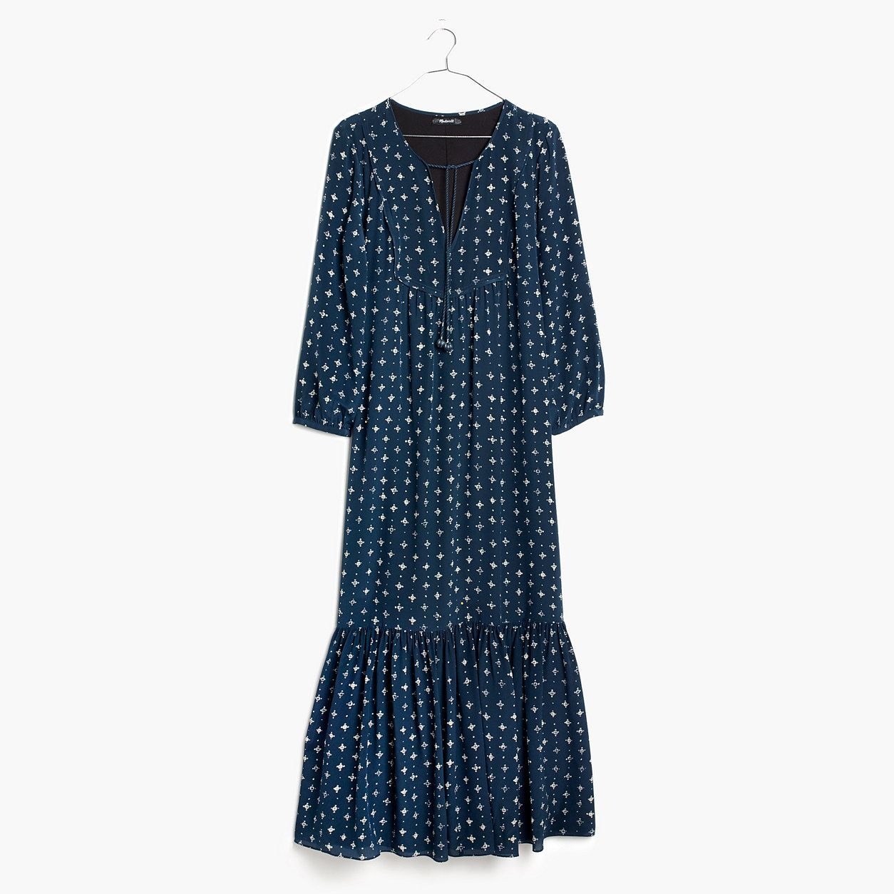 f36c67bae9e Madewell Womens Silk Medallion Dot Maxi Dress