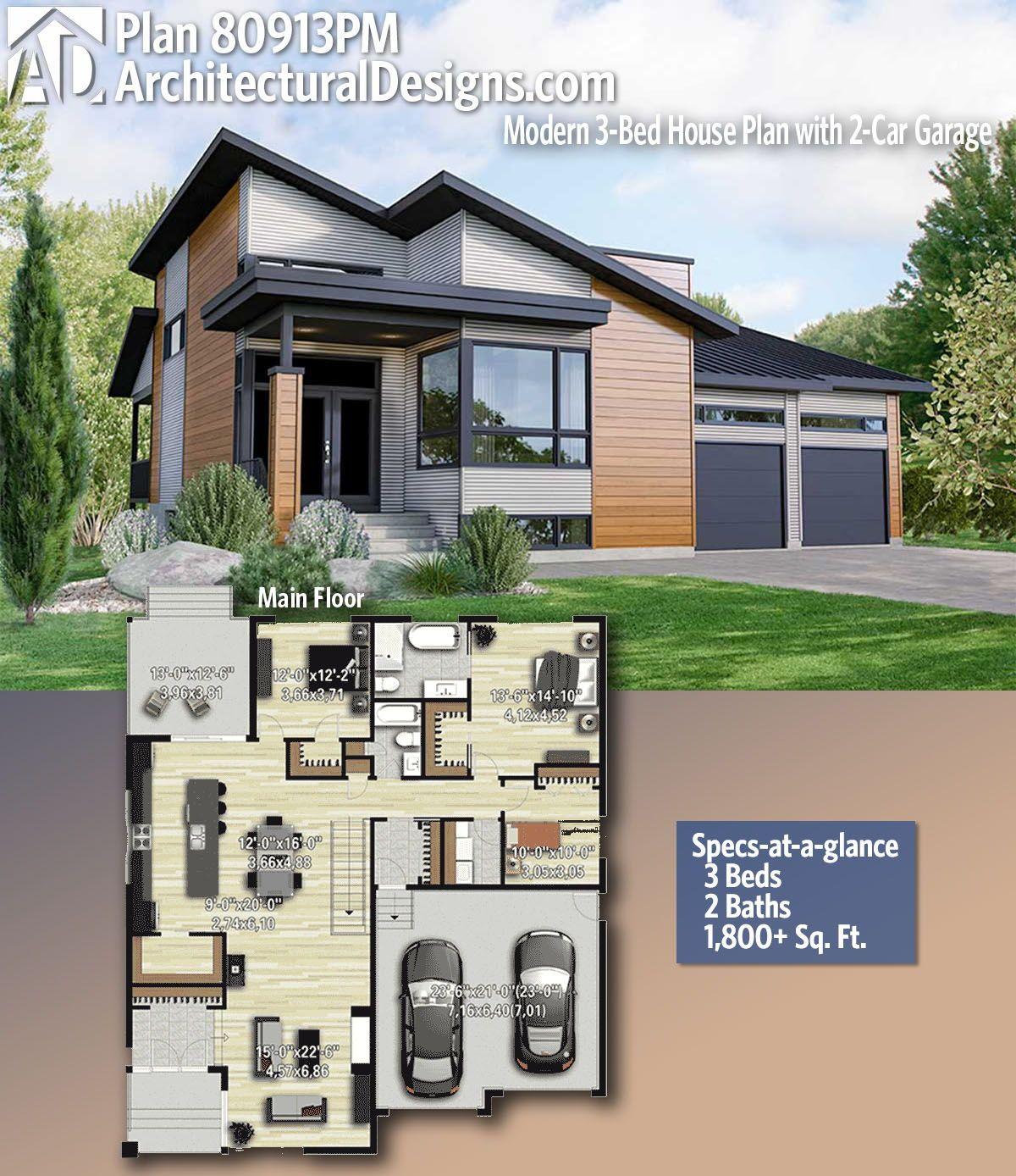Plan 80913pm Modern 3 Bed House Plan With 2 Car Garage Small Modern House Plans Modern House Plans House Plans