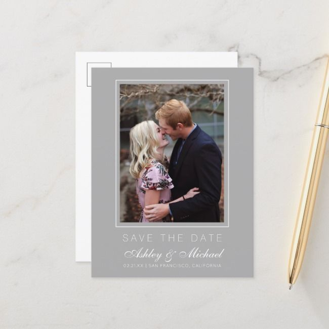 Chic Gray Save the Date Engagement Photo Announcement Postcard  Chic Gray Save the Date Engagement Photo Announcement Postcard