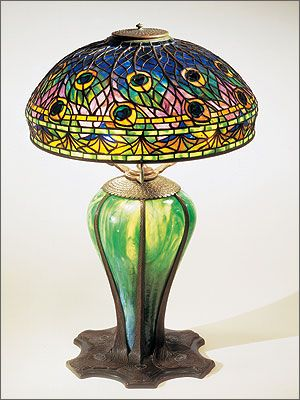Peacock lamp, Tiffany Studios, 1900–1910. Leaded and blown glass ...