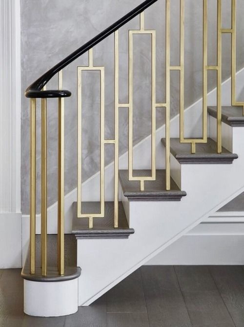 Best Gold Mid Century Modern Staircase Handle Stair Railing 400 x 300