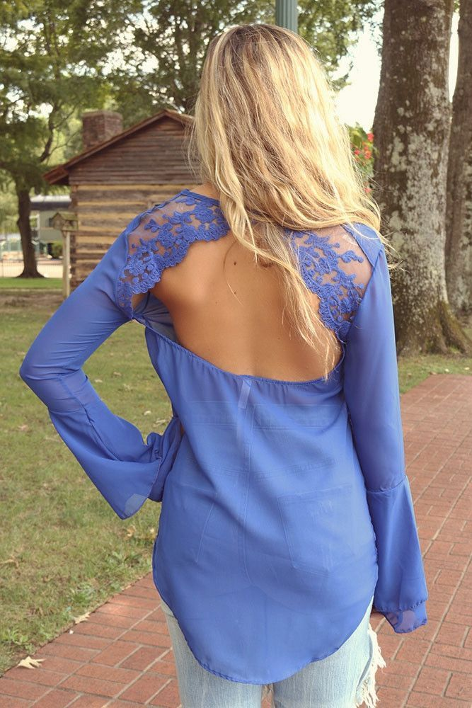 Carpinteria Royal Blue Bell Sleeve Lace Open Back Sheer Top
