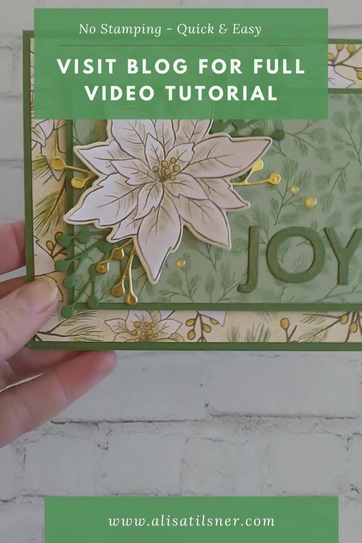 Easy Poinsettia Place Christmas Card