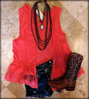 Coral Vintage Lace Vest
