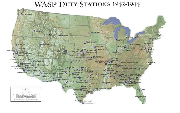A Map Of WASP Duty Stations In USA From WW Pinterest - Us ww2 map