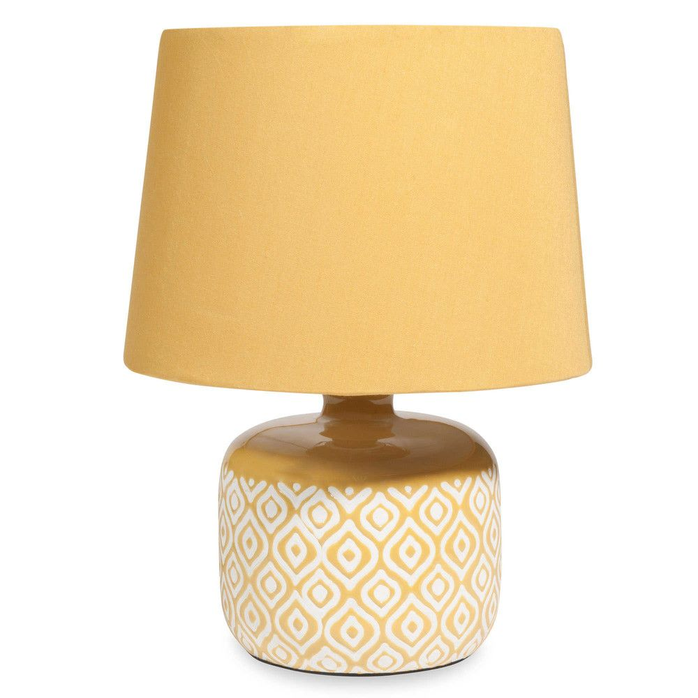 Yellow Ceramic Lamp With White Motifs In 2018 Lighting Pinterest