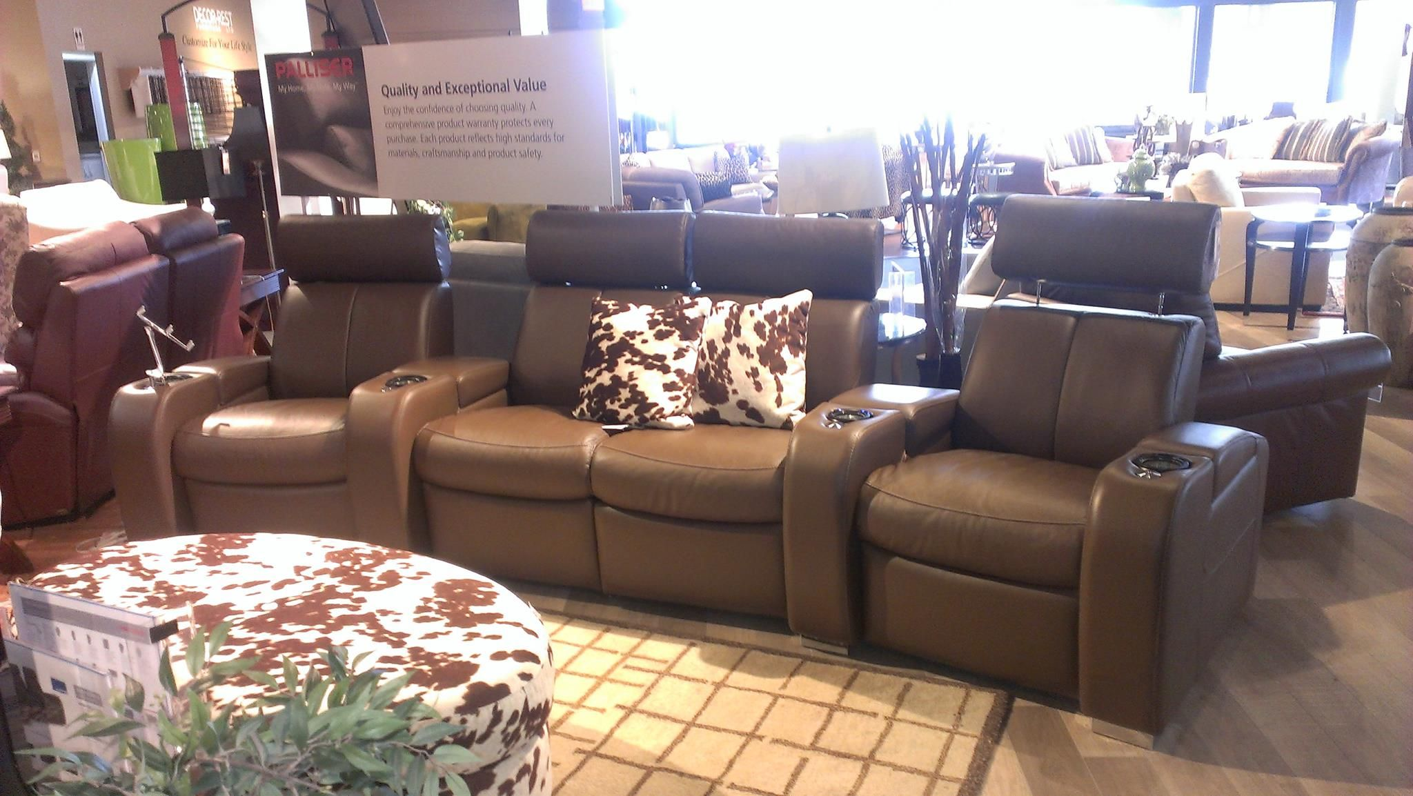 lemans home theater from palliser furniture in tulsa ii umber leather complete with power recline - Palliser Furniture