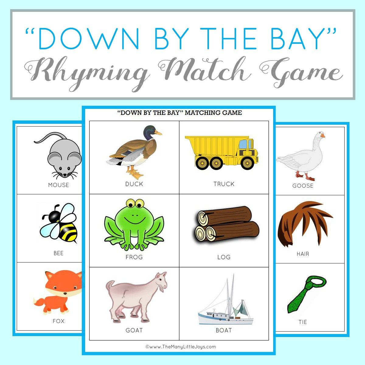 Teaching Kids To Rhyme Rhyming Match Game Free Printable Teacher Things