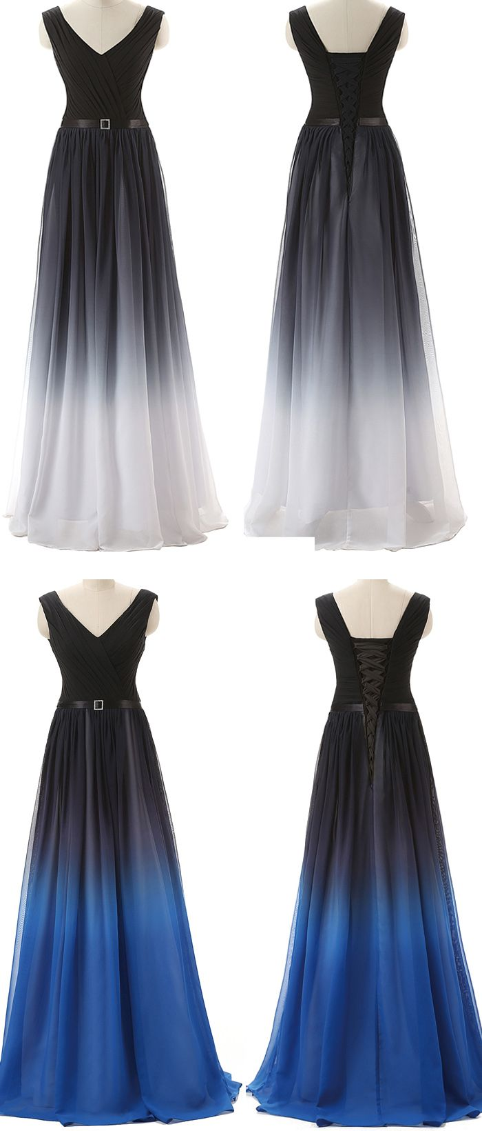 Black navy blue ombre prom dresses with v neck long evening dress