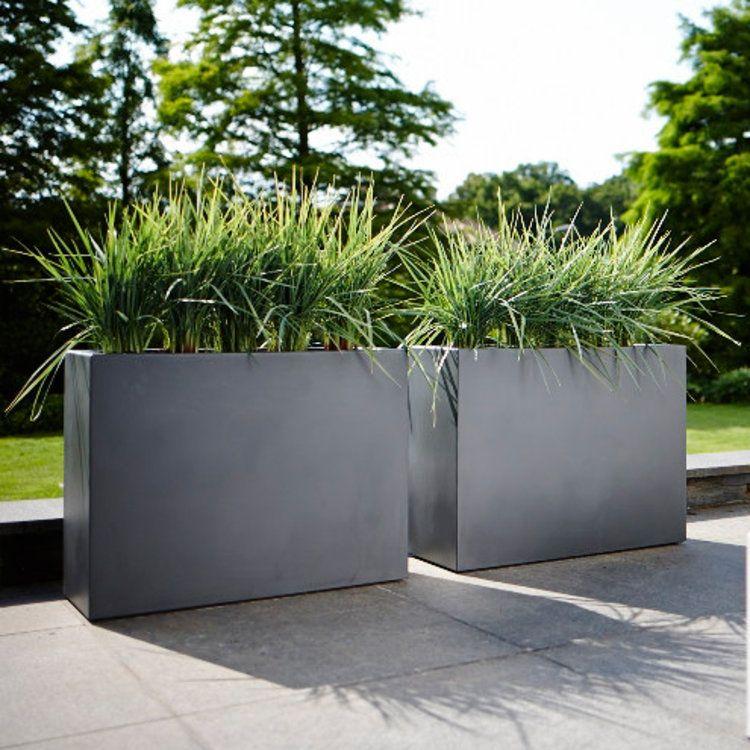 Jardini re rectangle brise vue hauteur 59cm en poly thyl ne 80x30cm pure balcon en 2019 - Par vue de jardin ...