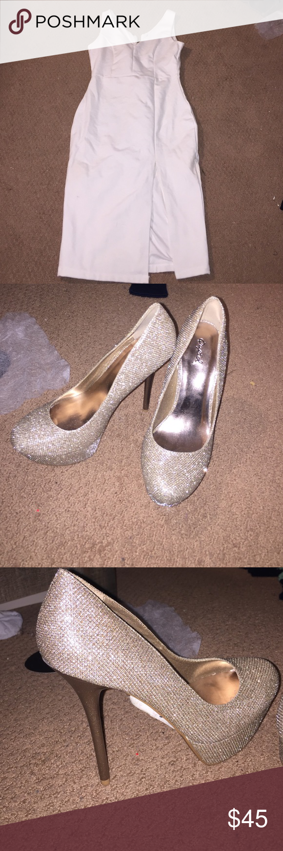 Lulu's dress and Gold heels! Can be purchased separate! Shoes are a size 8.5 Lulu's Dresses
