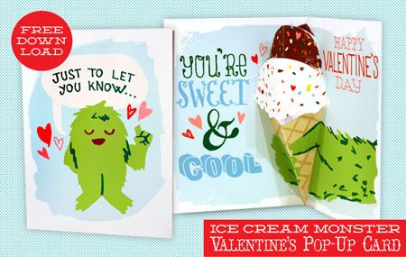 A Free Download Valentine S Pop Up Card Found On Papercraft From Scout Creative And Bestbuy Monster Valentines Valentines Diy Pop Up Cards