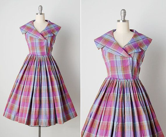 Vintage 1950s Dress 50s Madras Dress Cotton By Cutxpaste