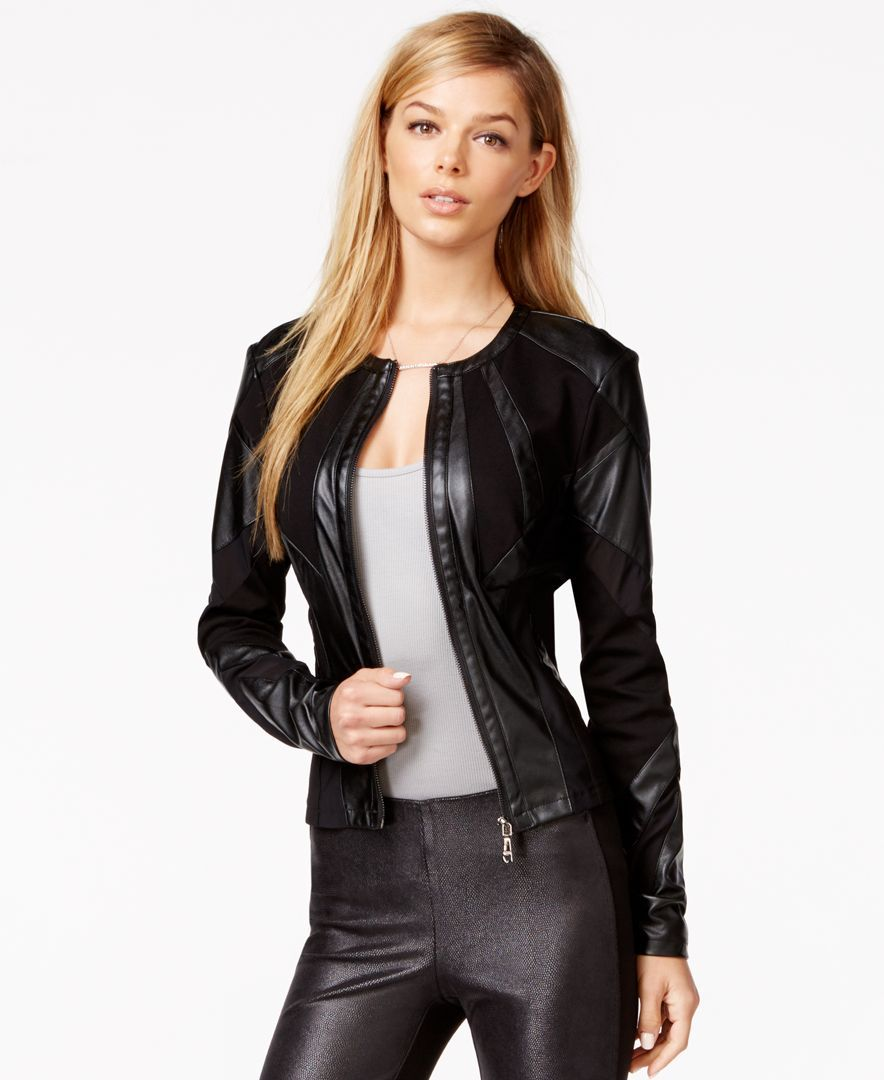 8ddfe945 Guess Faux-Leather Mesh-Detail Jacket | Products | Faux leather ...