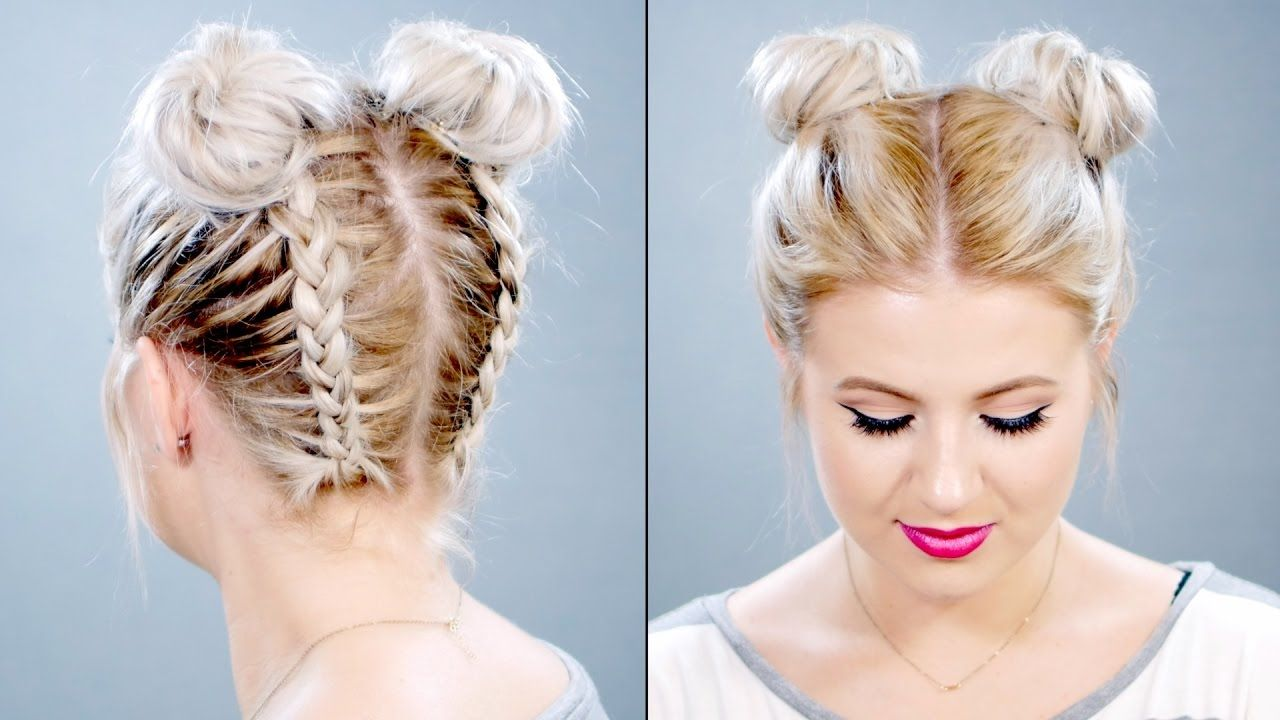Double Braided Space Buns On Short Hair Milabu Short Hair Tutorial Braids For Short Hair Short Hair Bun