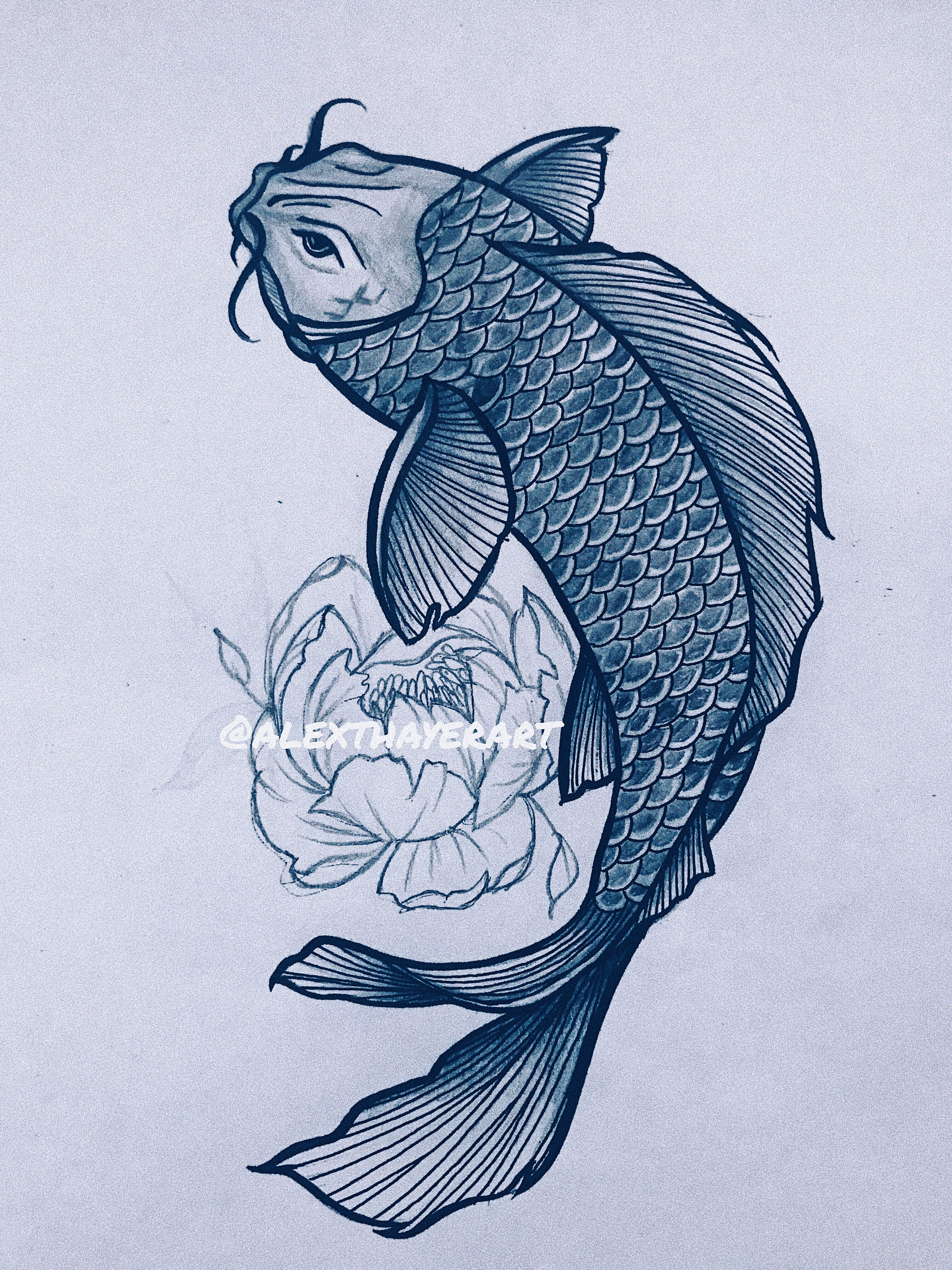 Koi Fish Tattoo Design Koi Fish Drawing Drawings Flower Drawing