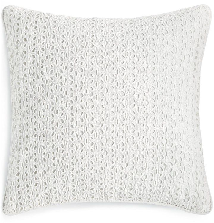"Macy's Decorative Pillows Interesting Martha Stewart Collection Eyelet Diamond White 18"" Square Decorative Decorating Design"