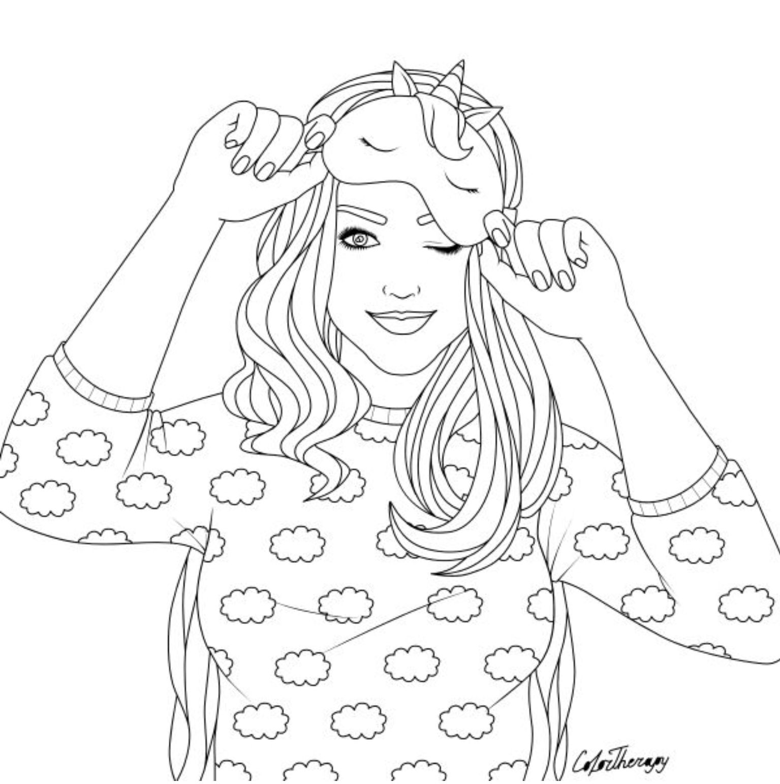 Girl With Unicorn Mask Free Colouring Sample Cute
